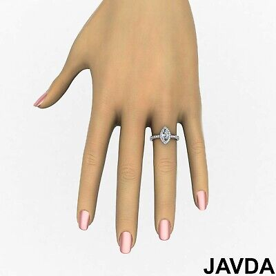 Halo Micro Pave Marquise Cut Diamond Engagement Cathedral Ring GIA F VS1 1.17Ct 3