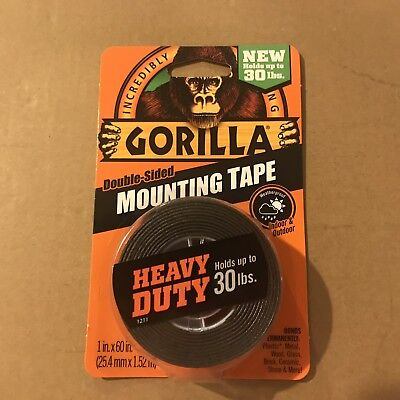 Gorilla Glue 6055001-6 Double-sided Heavy Duty Mounting Tape 1 X 60 Black