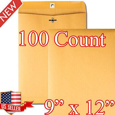100 Business Envelopes 9x12 Kraft Clasp Manila Catalog Yellow Brown Flap New