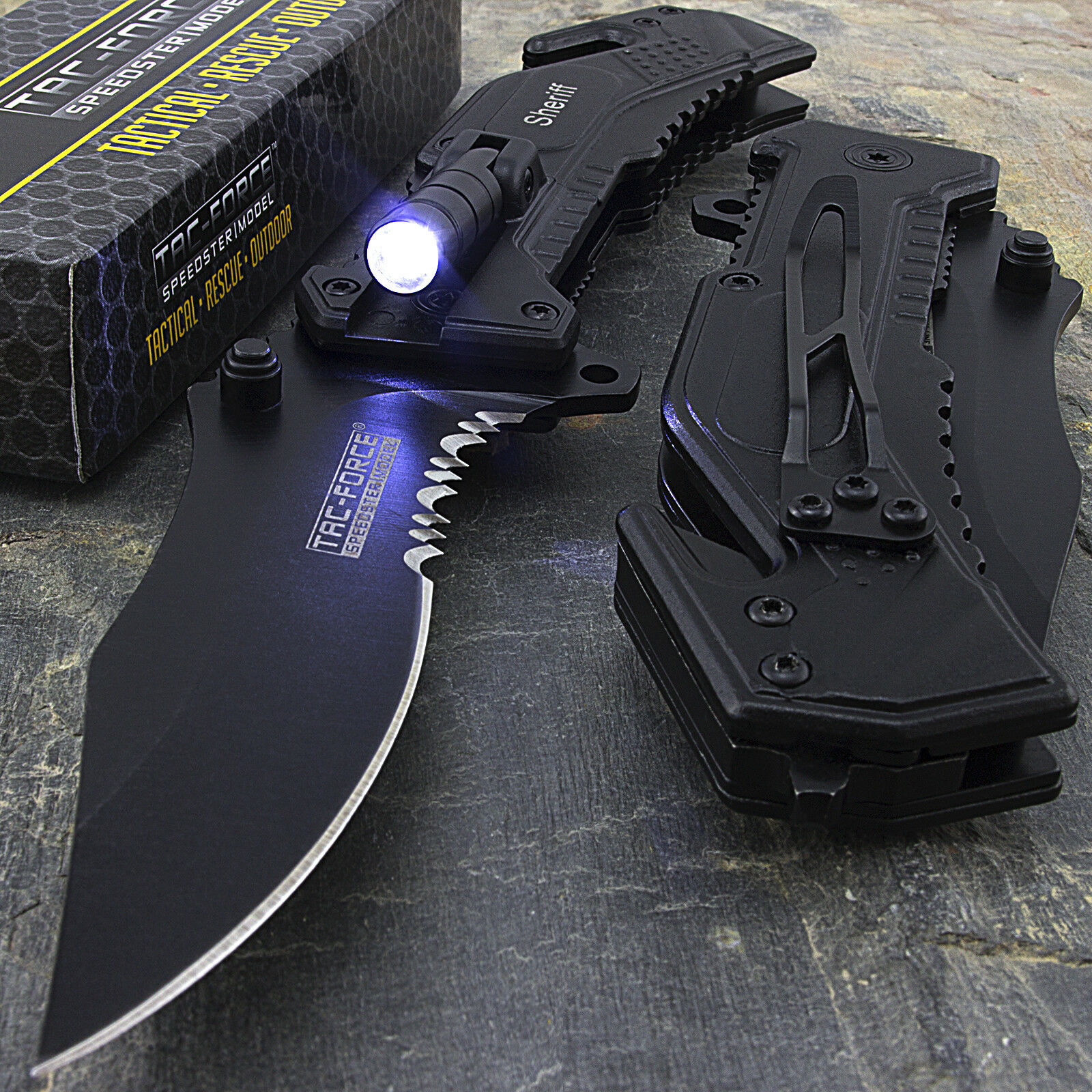 Купить Tac-Force - 8.25 SHERIFF TAC FORCE SPRING ASSISTED FOLDING POCKET KNIFE w/ LED FLASHLIGHT