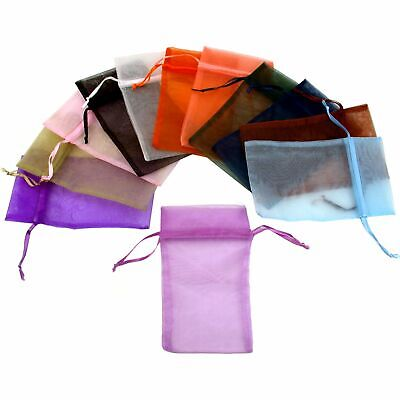 """Assorted Colors Organza Drawstring Jewelry Gift Bags Pouches 4"""" x 5"""" Kit 96 Pcs"""