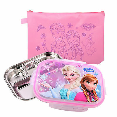 FROZEN Divided Stainless Steel Kids Snack Tray Lunch Box Portion Plate with BAG