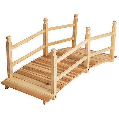 Garden Pond Water Bridge Wooden Stream Outdoor Feature Low Rail 140cm