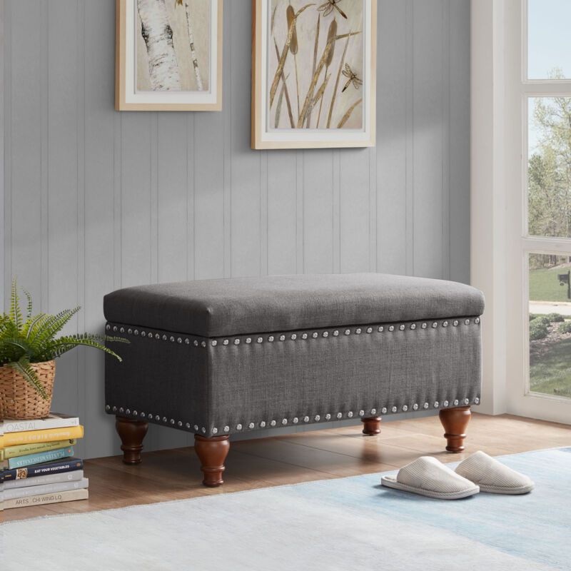 """Quincy 35"""" Storage Ottoman Bench With Bun Legs, 4 colors"""