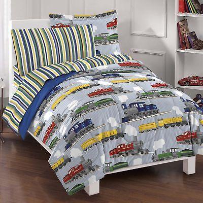 Dream Factory Trains Ultra Soft Microfiber Boys Comforter Se