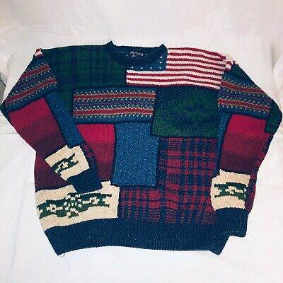 Nautica Hand Knit Sweater Adult Medium Multi Color Block USA Flag Geometric Mens