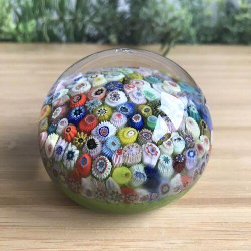 Strathearn Glass Close-packed Millefiori Cane Paperweight 280g - 6.3cm Wide