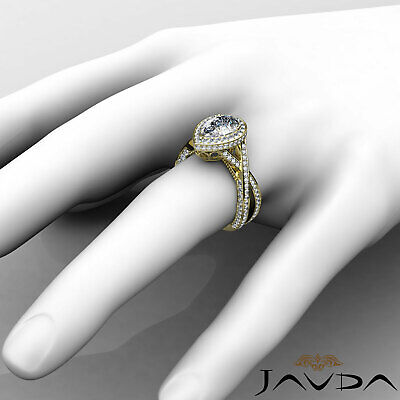 Cross Shank Milgrain Edge Halo Pear Cut Diamond Engagement Ring GIA G VS2 2.45Ct 9
