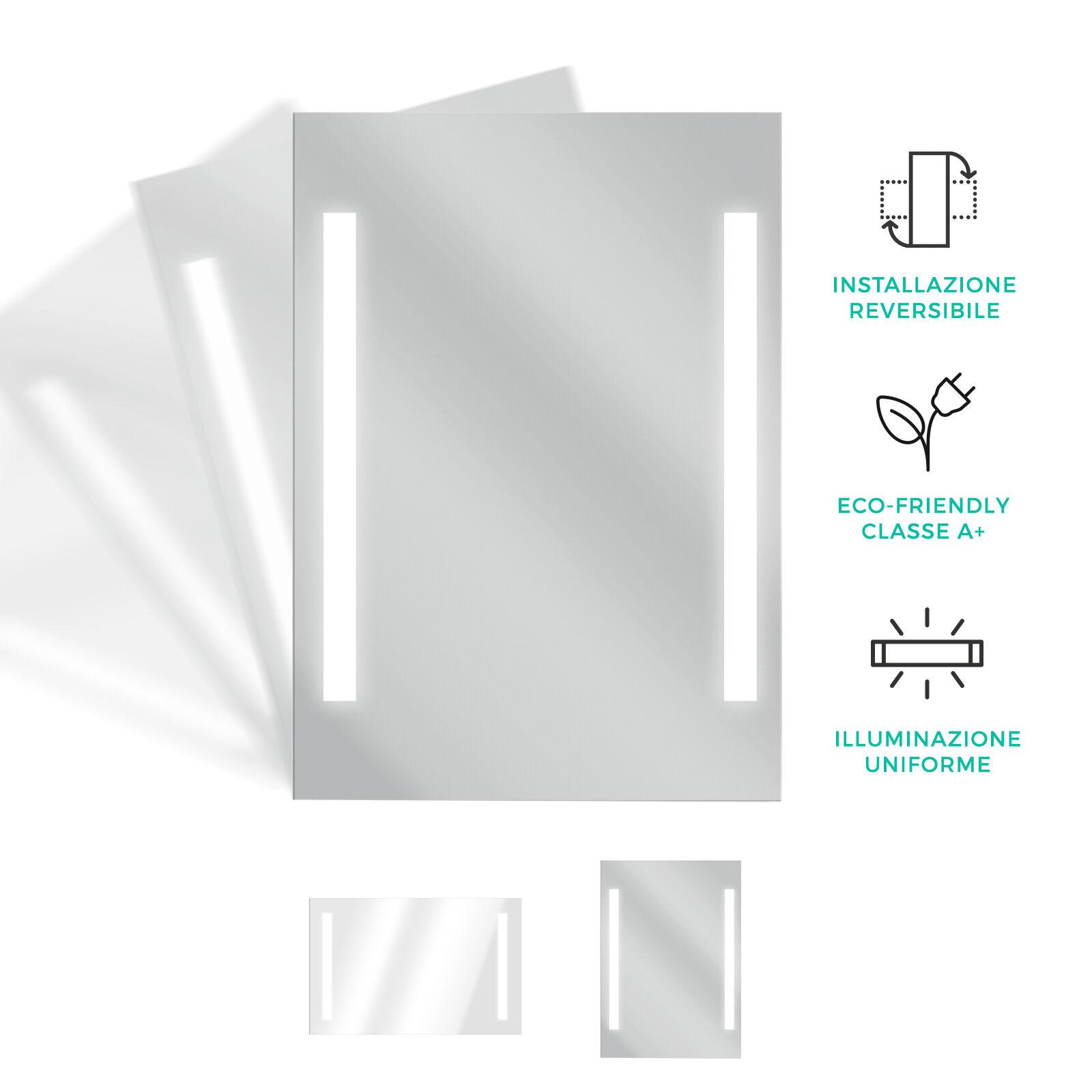 DEGHI Specchio LED arredo bagno design moderno specchiera reversibile