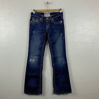 Sacred Blue Jeans Button Flap Distressed Boot Cut 28