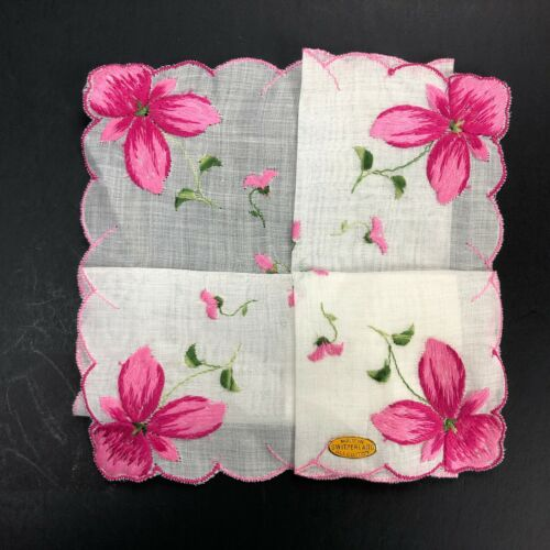 NOS VTG Embroidered Switzerland Handkerchief Hanky Hankie PINK Flower Scallop