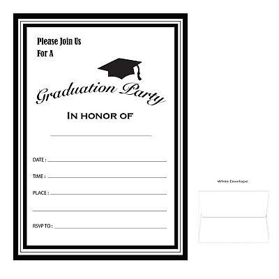 Graduation Party Invitation Cards w/envelopes - Qty 12