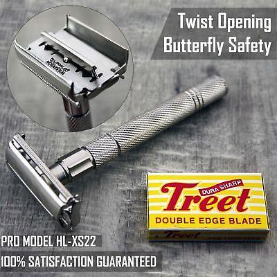 - Haryali London Double Edge Safety Razor - Twist To Open Butterfly Design+Blades