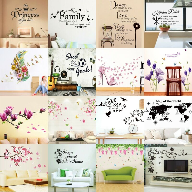 Home Decoration - Flower Tree Quotes Wall Sticker Art Living Room Removable Decals Home Decor