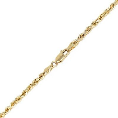 """14k Yellow Gold Solid Diamond Cut Rope Chain Necklace 24"""" 3mm 16.4 grams"""