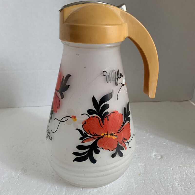 VTG Hazel Atlas Gay Fad Frosted Glass Waffle Pitcher Hand Painted Floral Cottage