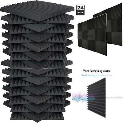 24 Pack Acoustic Foam Soundproof Panels Studio Wedge Tiles Charcoal 1