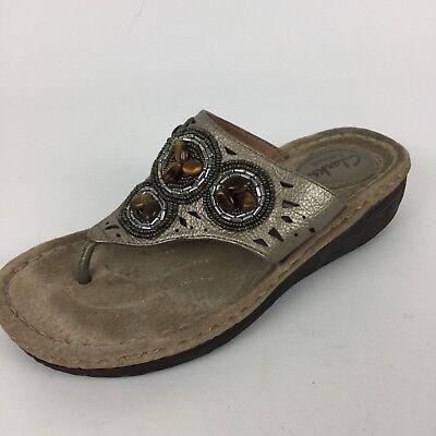 Tigers Flip Flop Sandals - CLARKS Artisan Womens Sz 6 M Tigers Eye Beaded Tan Leather Flip Flop Sandals