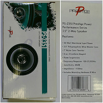 Audiovox PS-2351 Prestige Power Performance Series CarSpeaker 3.5