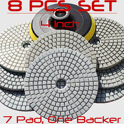 Diamond Polishing Pads 4 inch Wet/Dry 8 Piece Set Granite Stone Concrete Marble 3' Diamond Polishing Pad