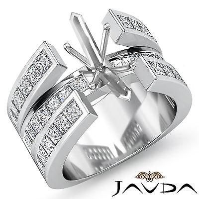 Diamond Wedding Ring Princess Channel Set 18k White Gold Marquise Semi Mount 1Ct Channel Set Semi Mount Ring