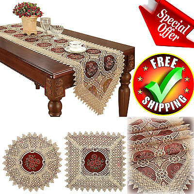 Table Runner Vintage Lace Doilies Embroidered Gold Burgundy Floral Tablecloth  - Gold Lace Table Runner