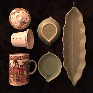 Chinese mug, leaf shaped plates.