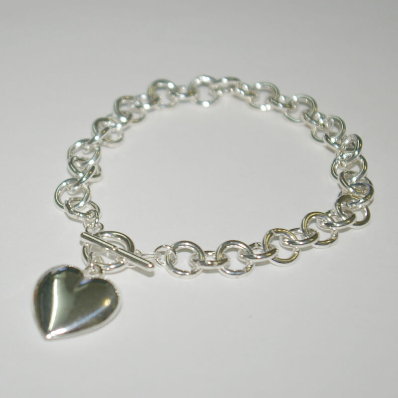 5 St Silver 8mm ROLO Chain HEART Charm Toggle BRACELETS