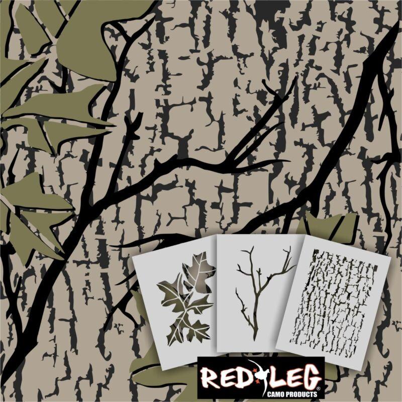 Redleg Camo ™ 912/3 - 3 piece duck boat camo stencil kit bark branch leaf