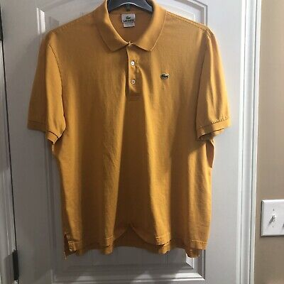 LACOSTE Mens Orange Polo Shirt  Size 7 Large Embroidered Gator Pre-Owned