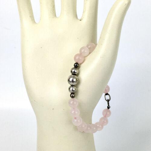 """STERLING rose quartz bead vintage bracelet - 925 silver light pink stone 7"""" 7mm"""