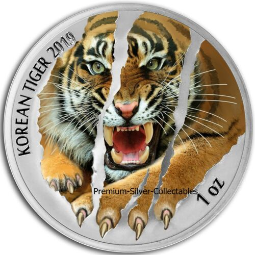 2019 South Korea Tiger  - 1 Ounce Pure Silver and Colorized!!