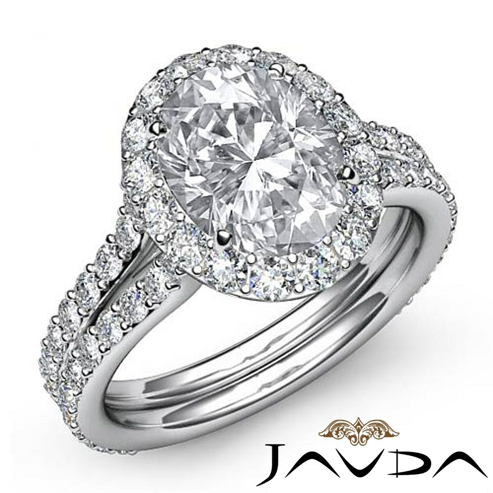 Halo Pave Set Oval Natural Diamond Engagement Anniversary Ring GIA F VS2 2.76Ct
