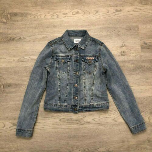 Hudson Lightly Distressed Denim Jean Jacket Light Blue Girls Size Large
