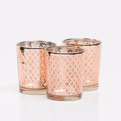 Richland Votive Candle Holder Rose Gold Mercury Lattice Set of 12 Home Decor