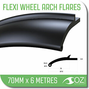 Wheel Arch Flares. 4x4 flexible 70mm x 6 metre mud guard flares toyota nissan
