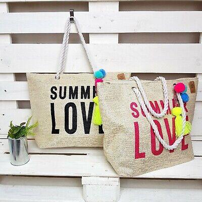Damen Strandtasche Ibiza Shopper Schwarz Pink Summer Love Korb Bunte Pompons