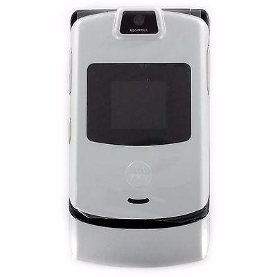 New Motorola RAZR V3m Silver Verizon Flip Cell Phone Retro T9 Razor