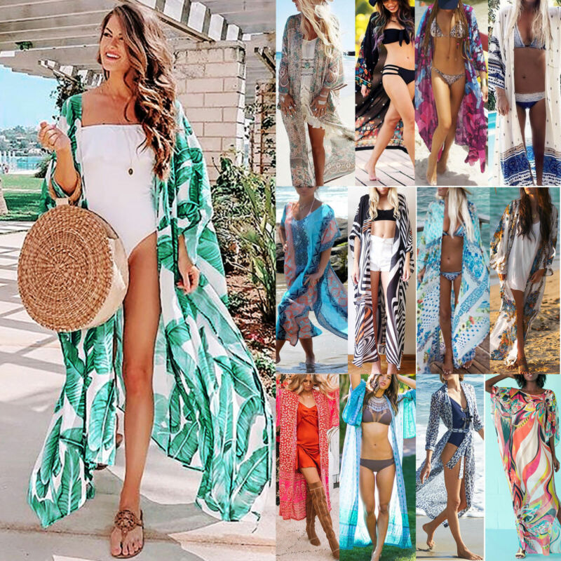 Damen Bikini Cover Up Boho Strand Kimono Lang Cardigan Sommer Vertuschung Maxi