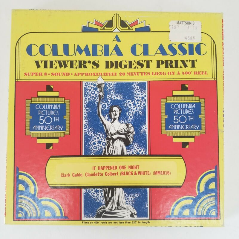"""Columbia Pictures Super 8 Film """"It Happened One Night"""" B&W Sound Gable Colbert"""
