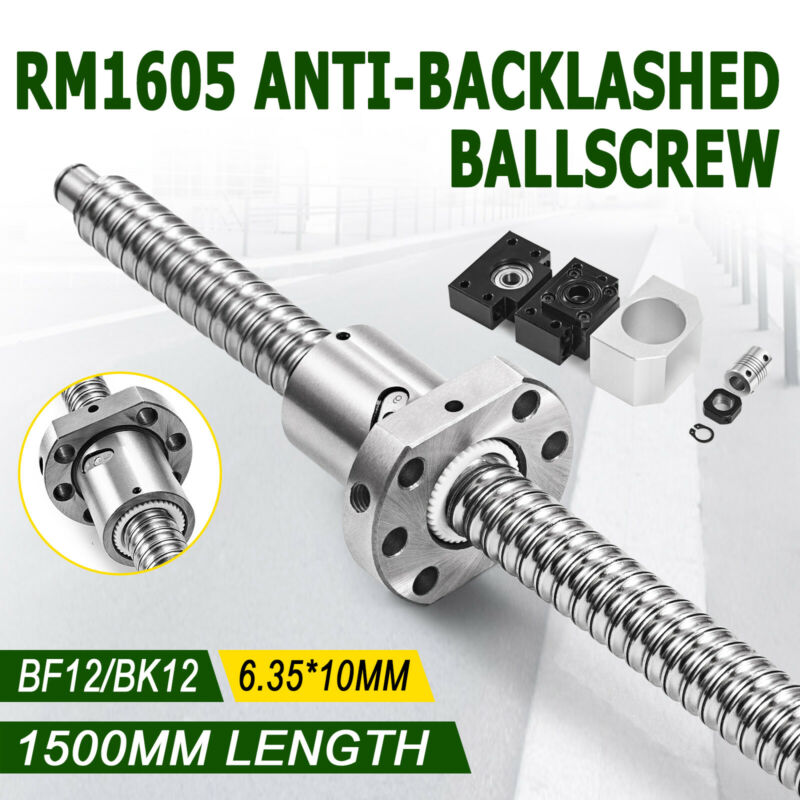 Ball Screw SFU1605-1500mm + BK/BF12 Support + 6.35*10mm Coupler RM1605 Ballscrew