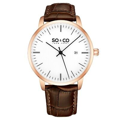 SO&CO NY Men's Dress Rose Gold Case Brown Genuine Leather Strap Quartz Watch
