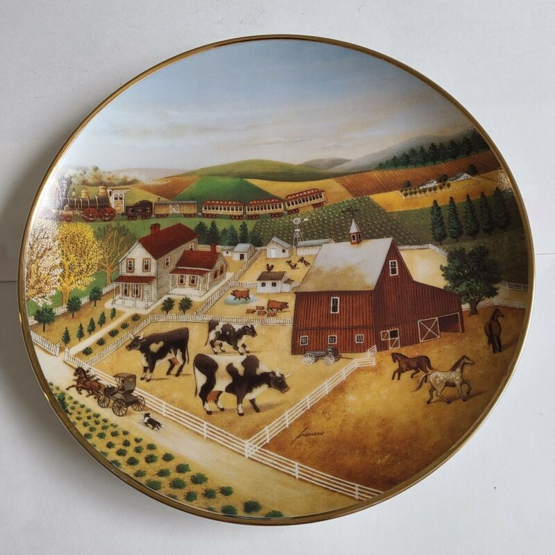 COUNTRY JOURNEYS L.HERRERO LIMITED FRANKLIN MINT PLATE AMERICAN FOLK ART COWS