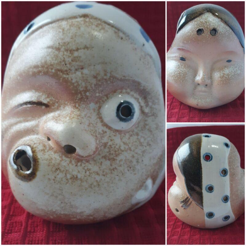 Vtg. Rare Double Sided Pottery Head Faces Candle Holder Votive Tea Light