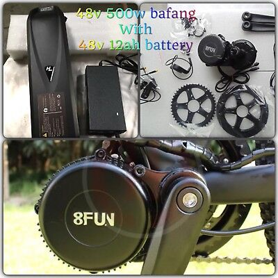 Electric Bike,48v 500W Bafang Mid Motor Drive 8fun kit W/ 48V 12ah Battery Kit