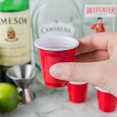 Yard Plastic Drinking Glass (1000 Pack Mini Red Plastic Shot Glass 2 Oz Party Drink Cold Solo Shooter Cup)