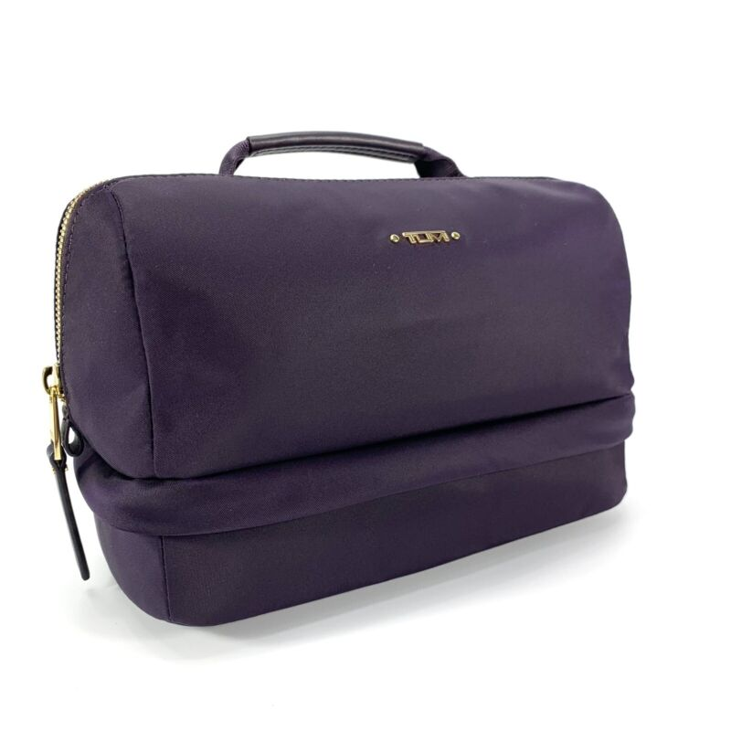 Tumi Selma Cosmetic Case Voyageur Collection Blackberry Purple Gold Hardware