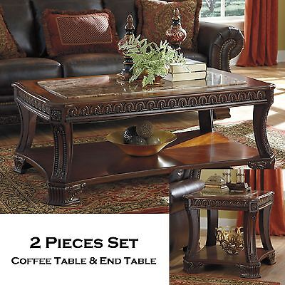 MONTEGO - 2pcs Traditional Rectangular Cocktail Coffee End Occasional Tables Set