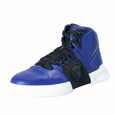 Versace Men's Two Tones Leather Medusa Embossed High Top Fashion Sneakers Shoes