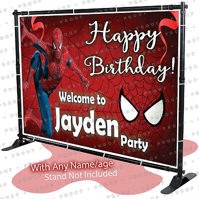 Spiderman Birthday Banner PersonalizedParty Backdrop Decoration Red -KID